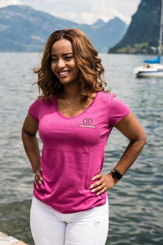 "SPORT LINE WOMEN'S  V-NECK T-SHIRT ""PINK"""