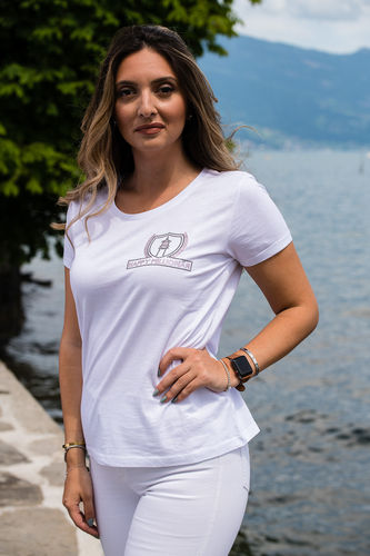 "ELEGANT LINE WOMEN'S - U-NECK T-SHIRT ""WHITE"""