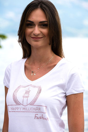 "GLAM FASHION LINE WOMEN'S V-NECK T-SHIRT ""WHITE"""