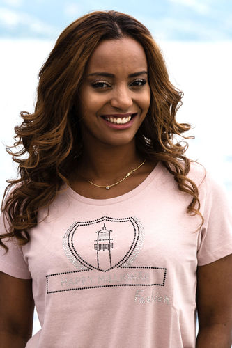 "GLAM FASHION LINE WOMEN'S U-NECK T-SHIRT ""LIGHT PINK"""