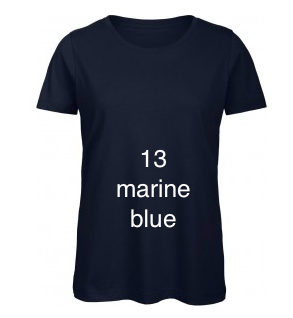 "EXCLUSIVE LINE WOMEN'S ""SWAROVSKI HEART"" U-NECK T-SHIRT ""MARINE BLUE"""