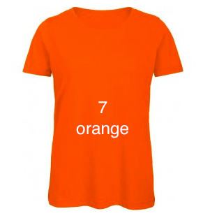"EXCLUSIVE LINE WOMEN'S ""BELIEVE IN LOVE"" U-NECK T-SHIRT ""ORANGE"""