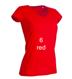 "EXCLUSIVE LINE WOMEN'S ""BELIEVE IN LOVE"" V-NECK T-SHIRT ""RED"""