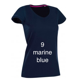 "EXCLUSIVE LINE WOMEN'S ""BELIEVE IN LOVE"" V-NECK T-SHIRT ""MARINE BLUE"""