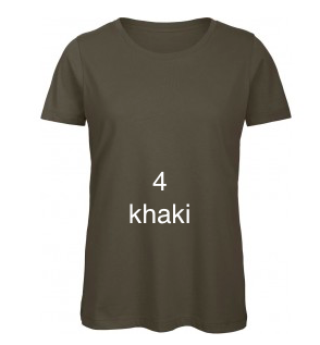 "EXCLUSIVE LINE WOMEN'S ""SWAROVSKI PEACE"" U-NECK T-SHIRT ""KHAKI"""
