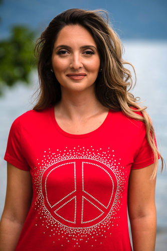 "EXCLUSIVE LINE WOMEN'S ""SWAROVSKI PEACE"" U-NECK T-SHIRT ""RED"""