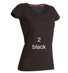 "EXCLUSIVE LINE WOMEN'S ""SWAROVSKI PEACE"" V-NECK T-SHIRT ""BLACK"""