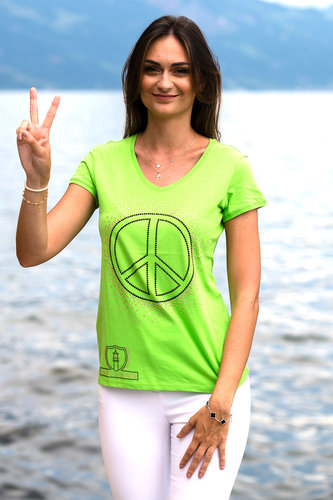 "EXCLUSIVE LINE WOMEN'S ""SWAROVSKI PEACE"" V-NECK T-SHIRT ""BRIGHT GREEN"""