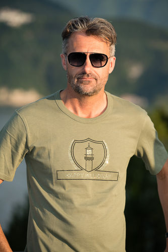 "GLAMOROUS LINE MEN'S  U-NECK T-SHIRT  ""MILITARY GREEN"""