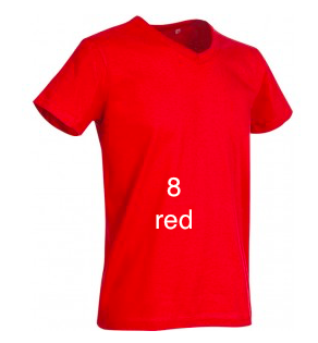 "ELEGANT LINE MEN'S V-NECK T-SHIRT ""RED"""