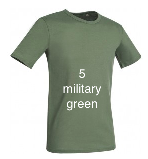 "ELEGANT LINE MEN'S U-NECK T-SHIRT ""MILITARY GREEN"""