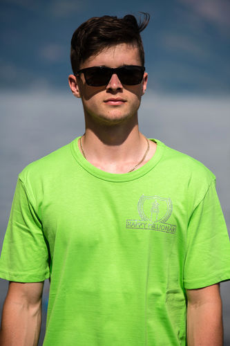 "ELEGANT LINE MEN'S U-NECK T-SHIRT ""BRIGHT GREEN"""