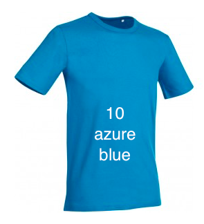 "ELEGANT LINE MEN'S U-NECK T-SHIRT ""AZURE BLUE"""