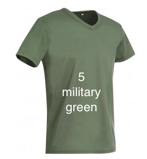 "GLAMOROUS LINE MEN'S  V-NECK T-SHIRT  ""MILITARY GREEN"""