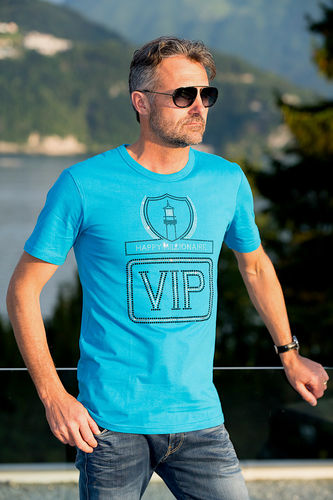 "EXCLUSIVE LINE MEN'S ""VIP"" U-NECK T-SHIRT ""AZURE BLUE"""