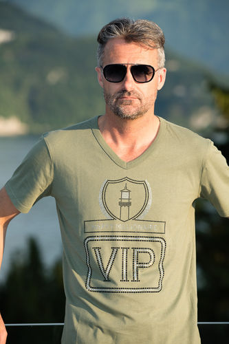 "EXCLUSIVE LINE MEN'S ""VIP"" V-NECK T-SHIRT ""MILITARY GREEN"""