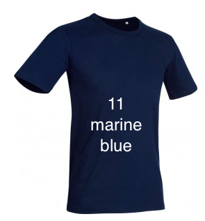 "EXCLUSIVE LINE MEN'S ""GOOHT'S NO?"" U-NECK T-SHIRT ""MARINE BLUE"""
